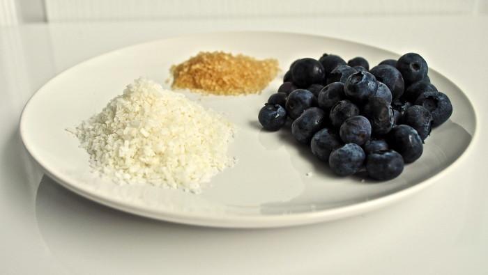 Coconut, blueberry, sugar