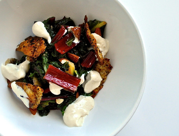 Swiss chard with tahini yogurt sauce