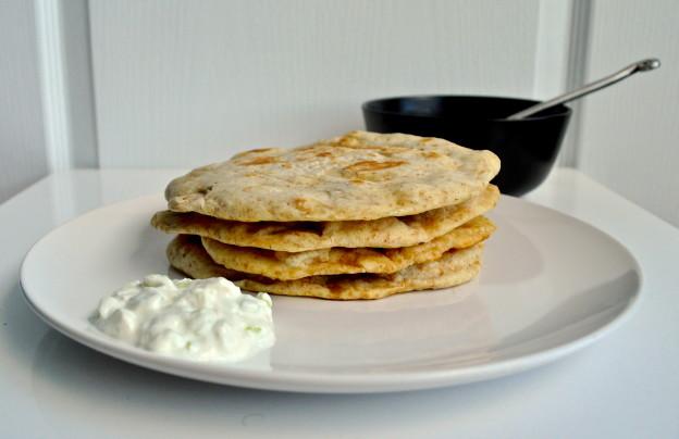 homemade pita and tzatziki