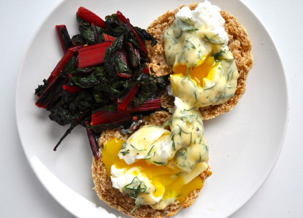 poached eggs and hollandaise