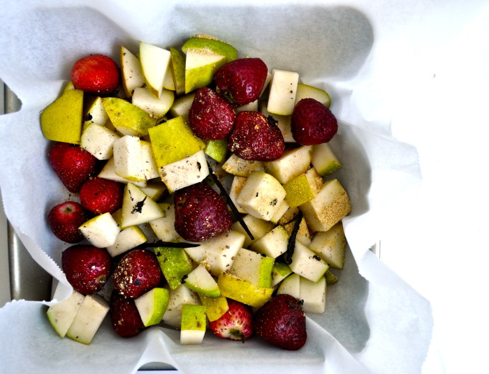 roasted strawberries and pears