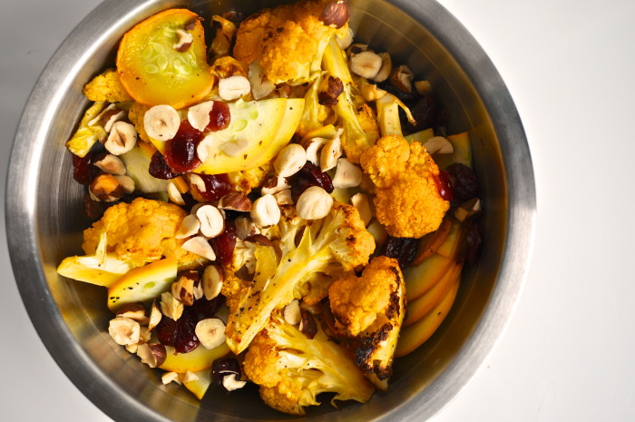 cauliflower, zucchini and hazelnut salad