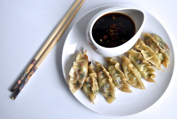vegetarian potstickers and soy dipping sauce