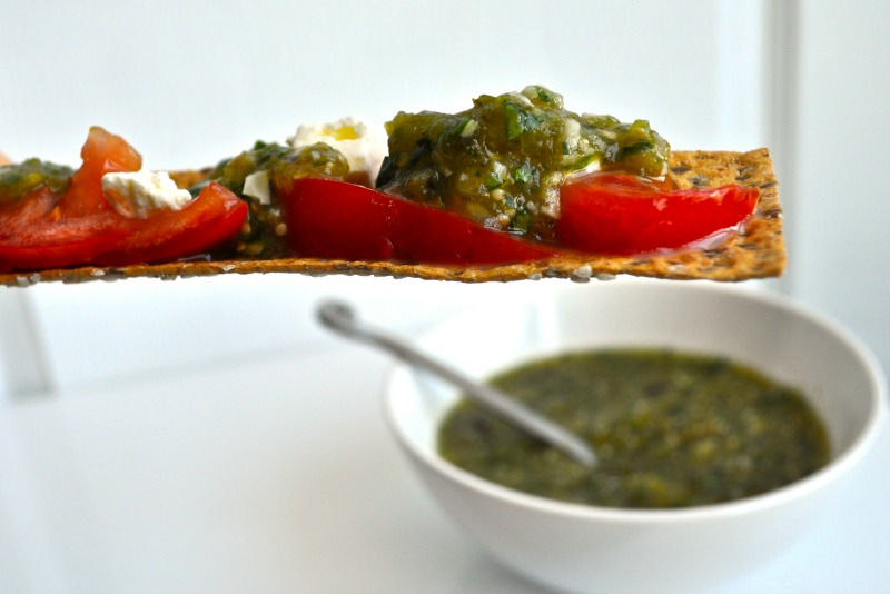 roasted tomatillo salsa on cracker