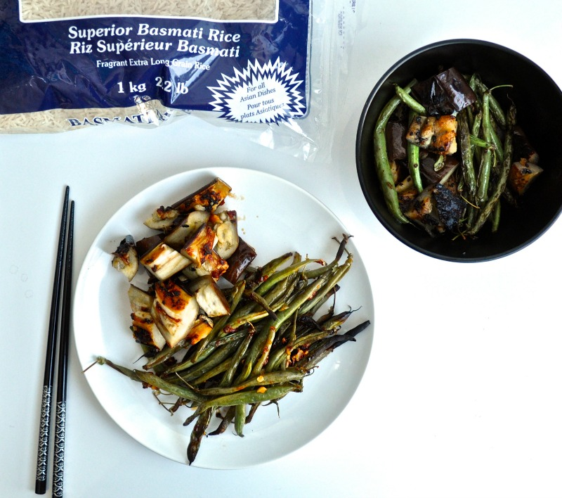 eggplant and green beans with sambal
