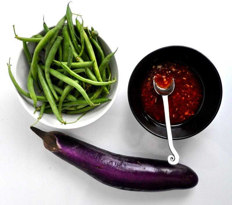 eggplant sambal and green beans