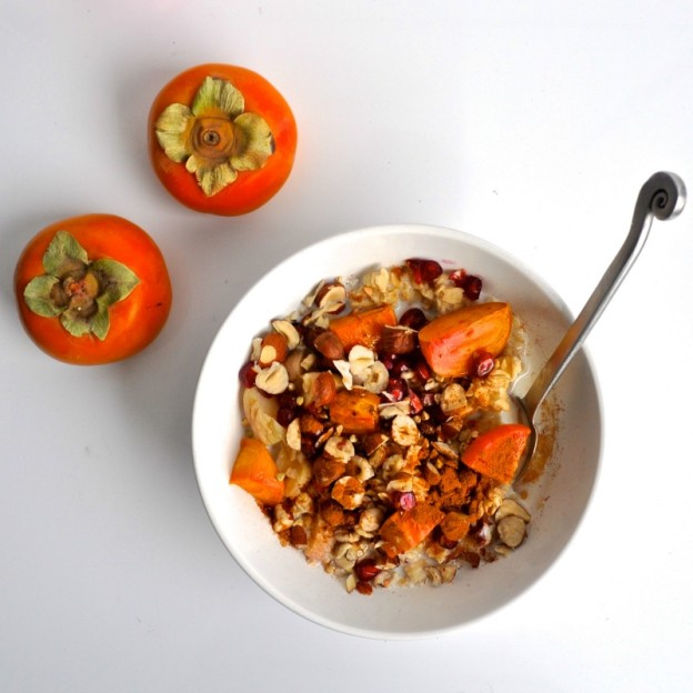 persimmon and pomegranate overnight oat