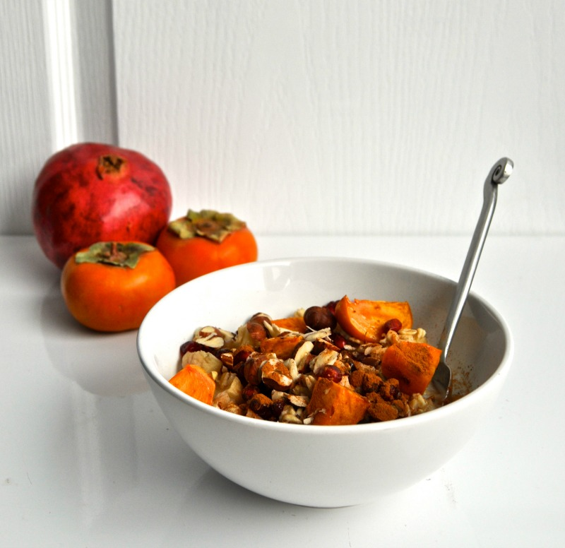 persimmon and pomegranate overnight oats