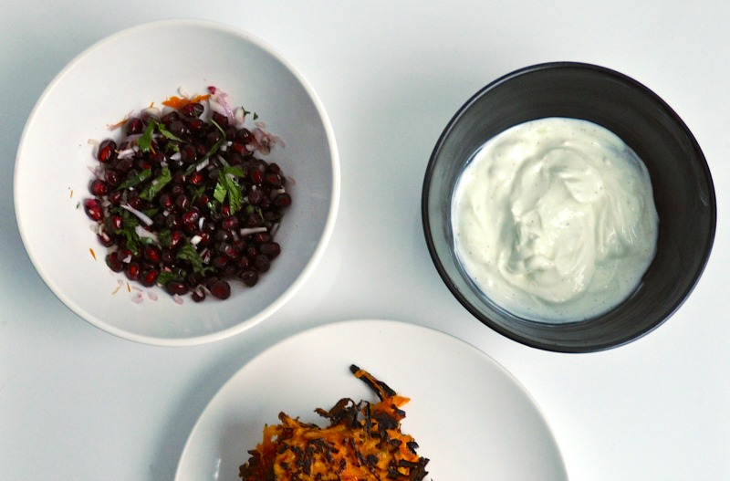 pomegranate relish and yogurt sauce
