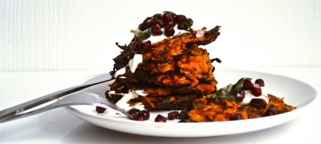 sweet potato latke, pomegranate relish and yogurt sauce