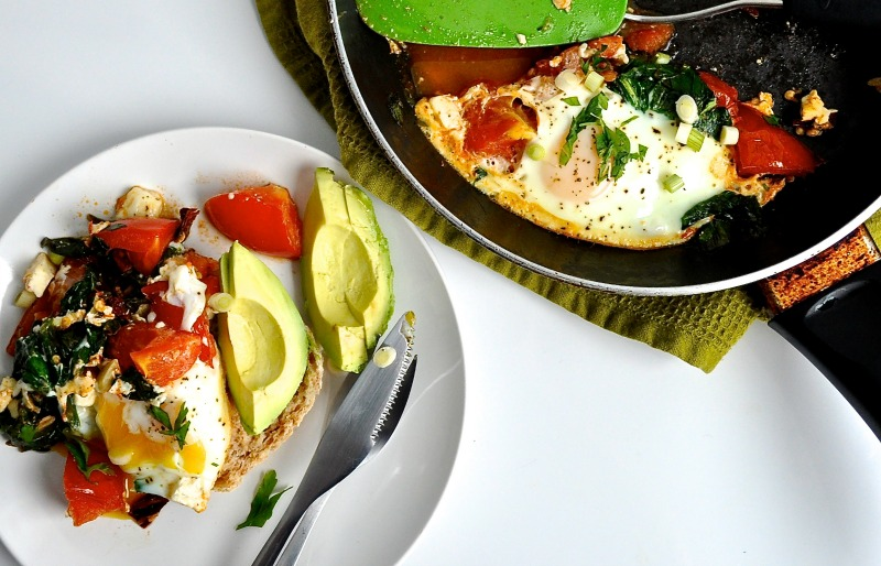 baked eggs with spinach, feta, chilli and tomato