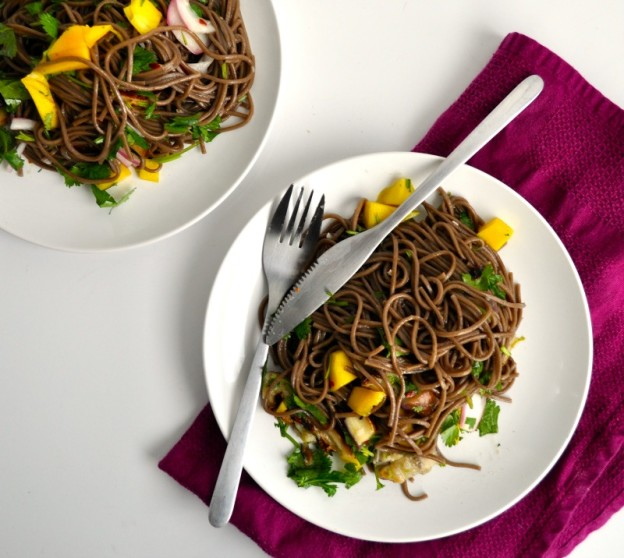 soba noodle with eggplant and mango