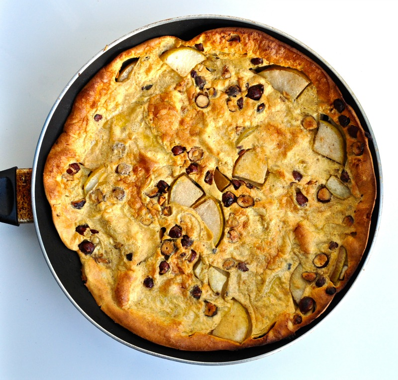 brown butter, pear and hazelnut dutch baby pancake
