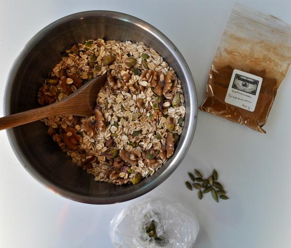 pistachio, walnut and date granola