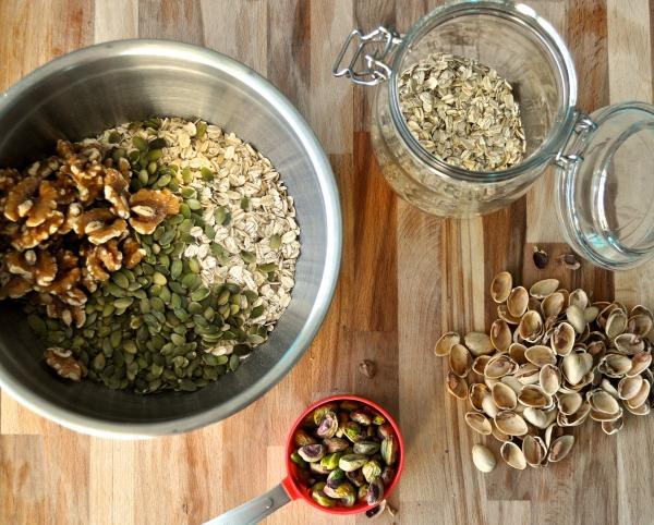 walnuts, sunflower seeds, and pistachio granola