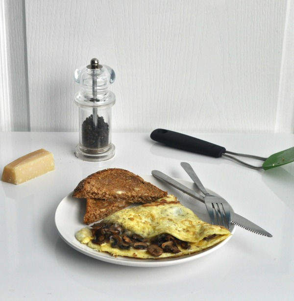 omelette with parmesan and mushrooms