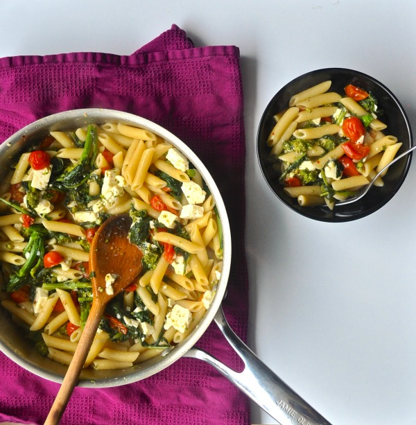 rapini pasta with cherry tomatoes and feta