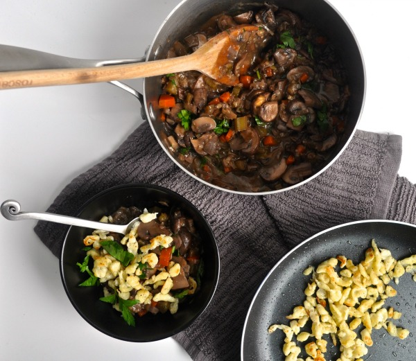 mushroom stew with spaetzle