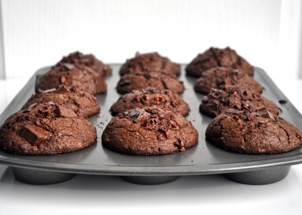 triple chocolate rye muffins