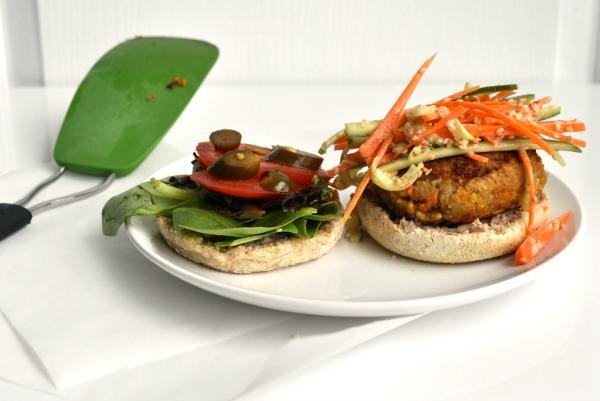 asian veggie burger and slaw