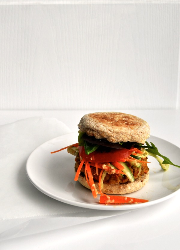 asian veggie burger & slaw