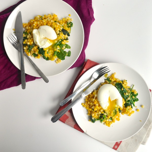 miso butter corn and a soft boiled egg