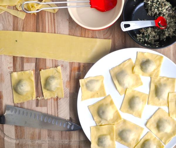 making shiitake raviolis