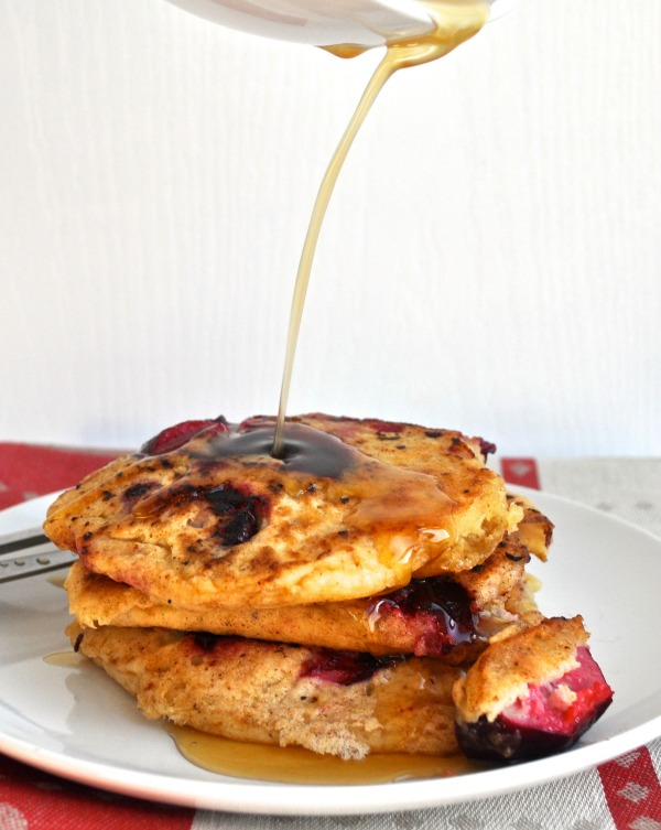 plum pancakes with ginger maple syrup