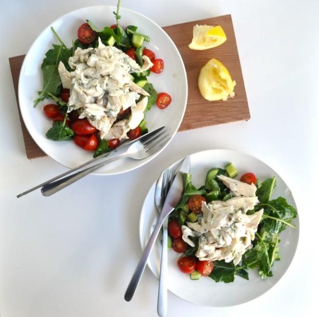 poached trout salad