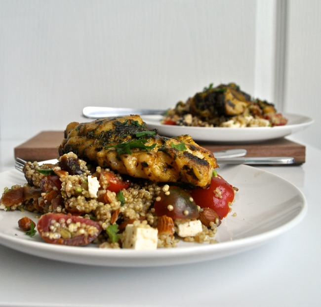 moroccan style quinoa and chermoula marinaded fish