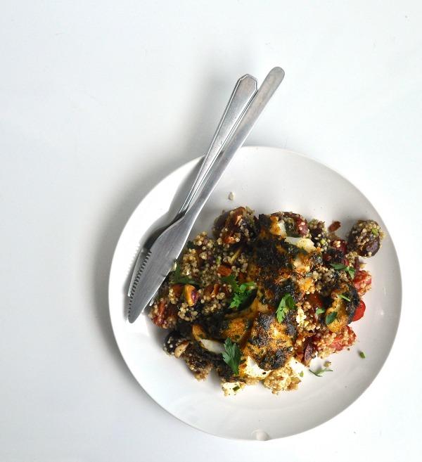 moroccan style quinoa and chermoula marinaded fish