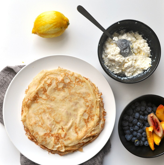 summer crepes with honey ricotta