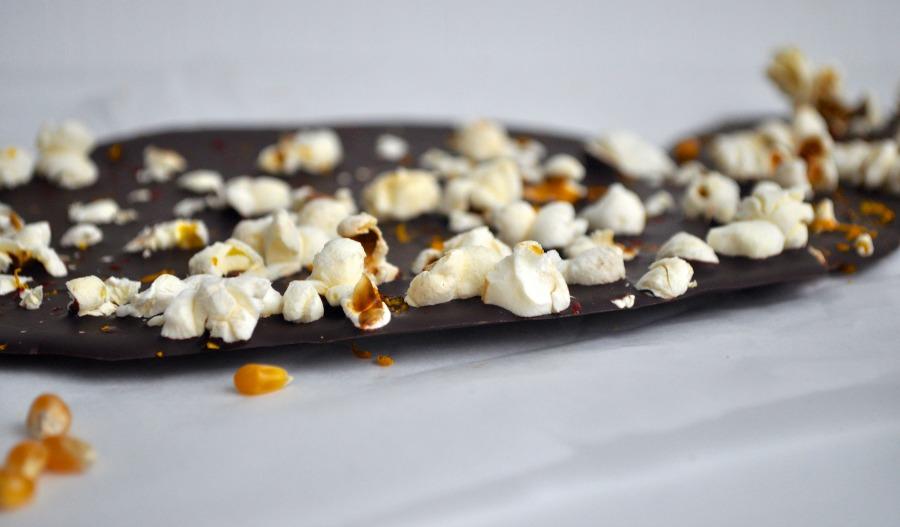 dark chocolate popcorn bark