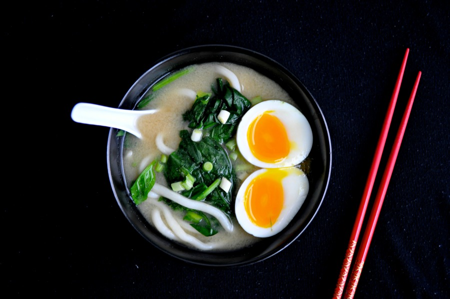 miso udon soup with soft boiled egg