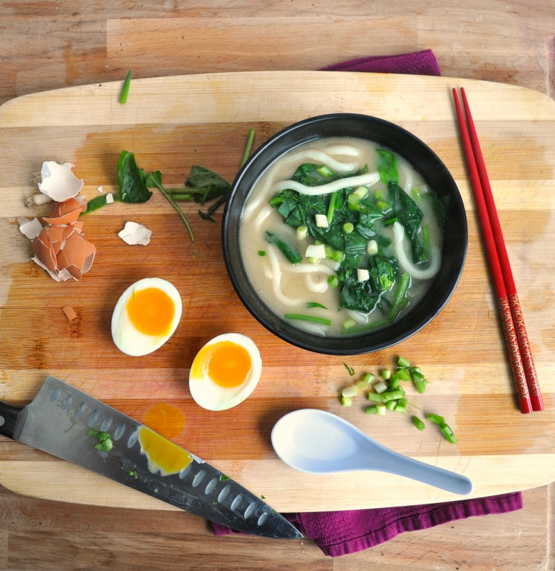 udon and soft boiled egg soup