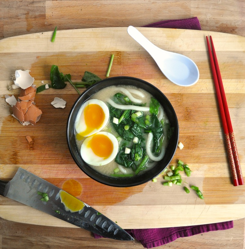 udon soup with a soft boiled egg