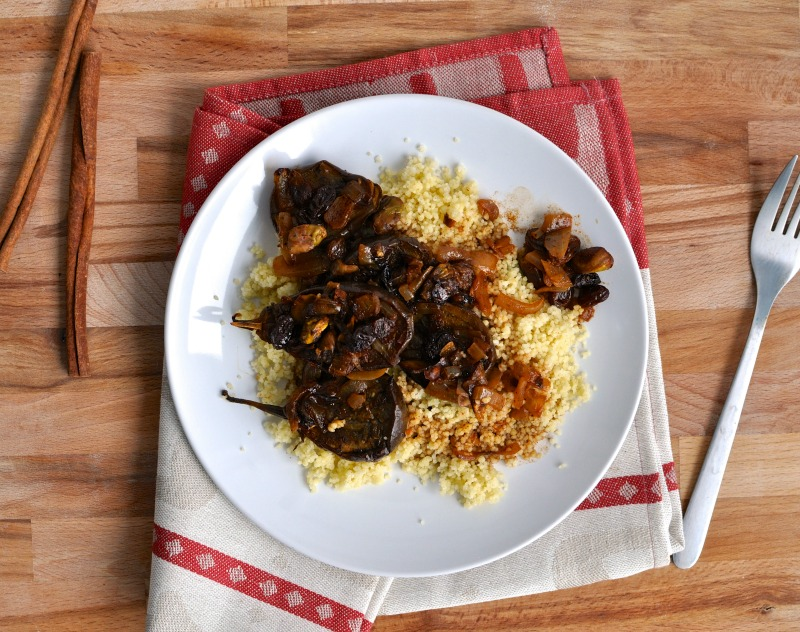 roasted mini eggplant and couscous