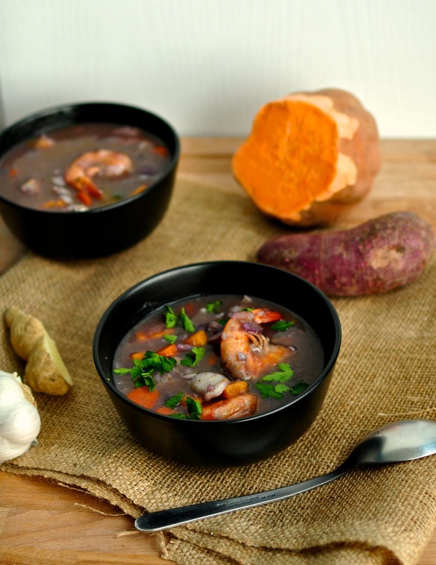 caribbean coconut seafood soup