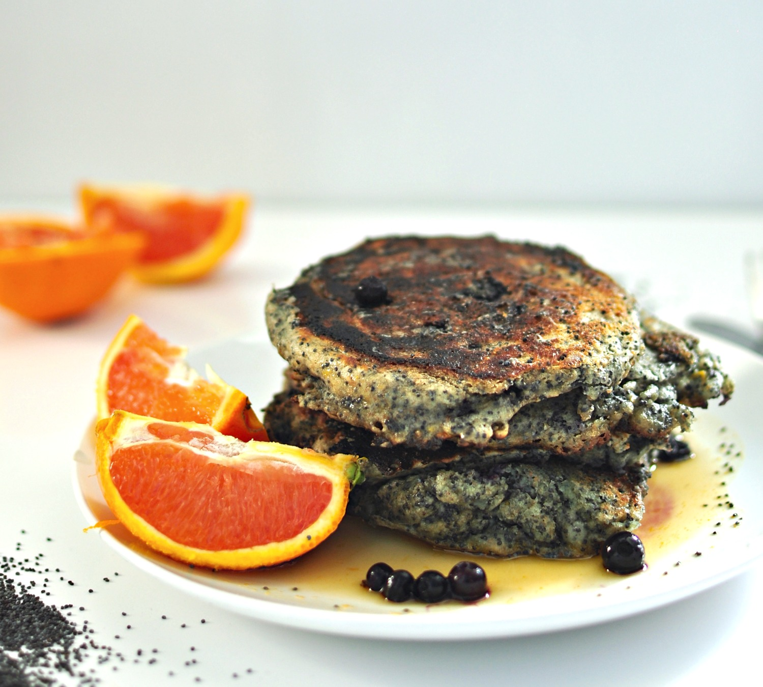 poppy orange pancakes