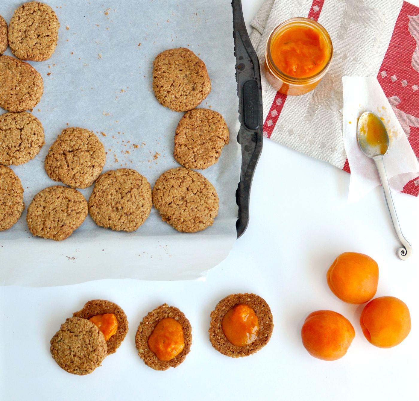 apricot jam sandwich cookie