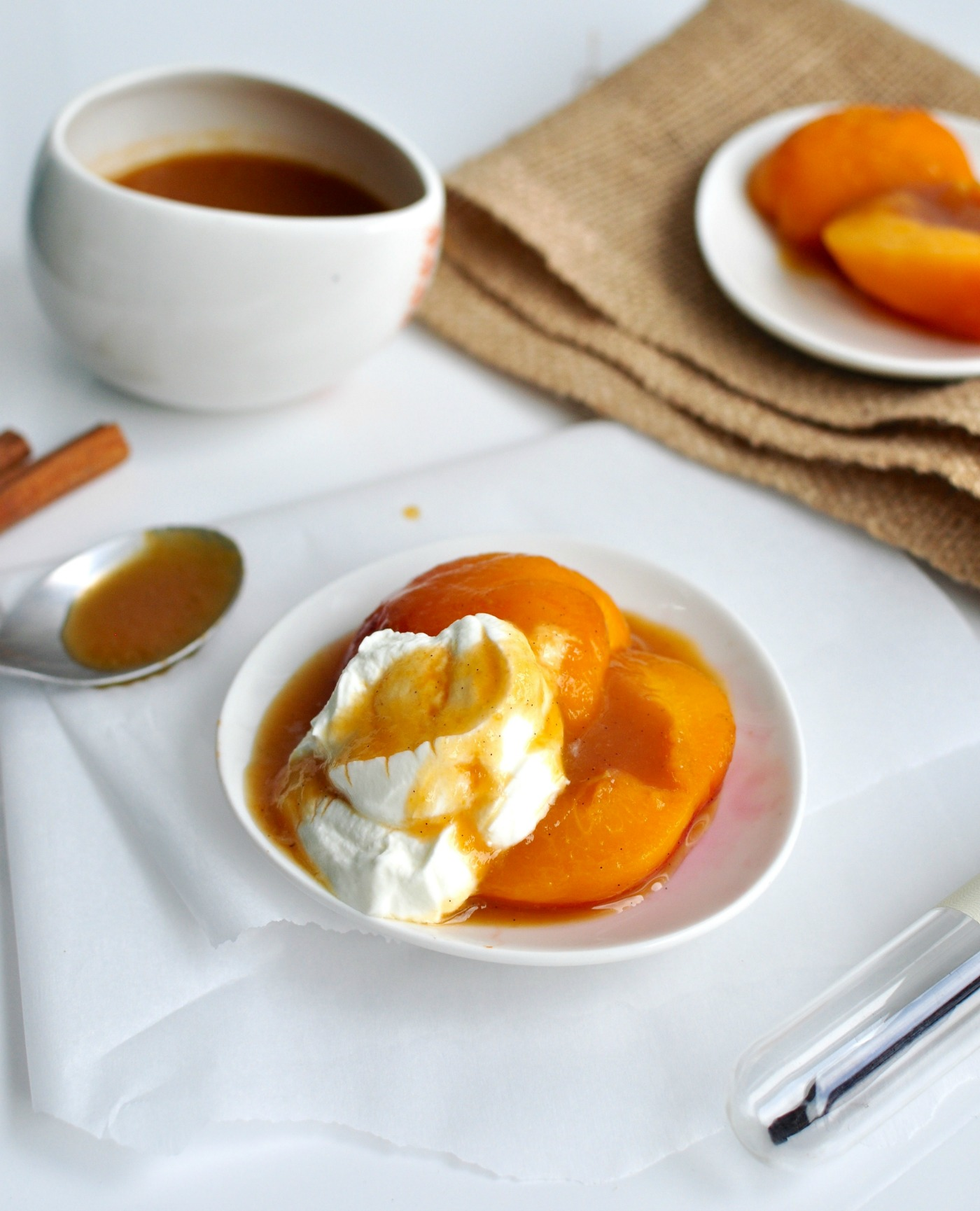 poached peaches and cream