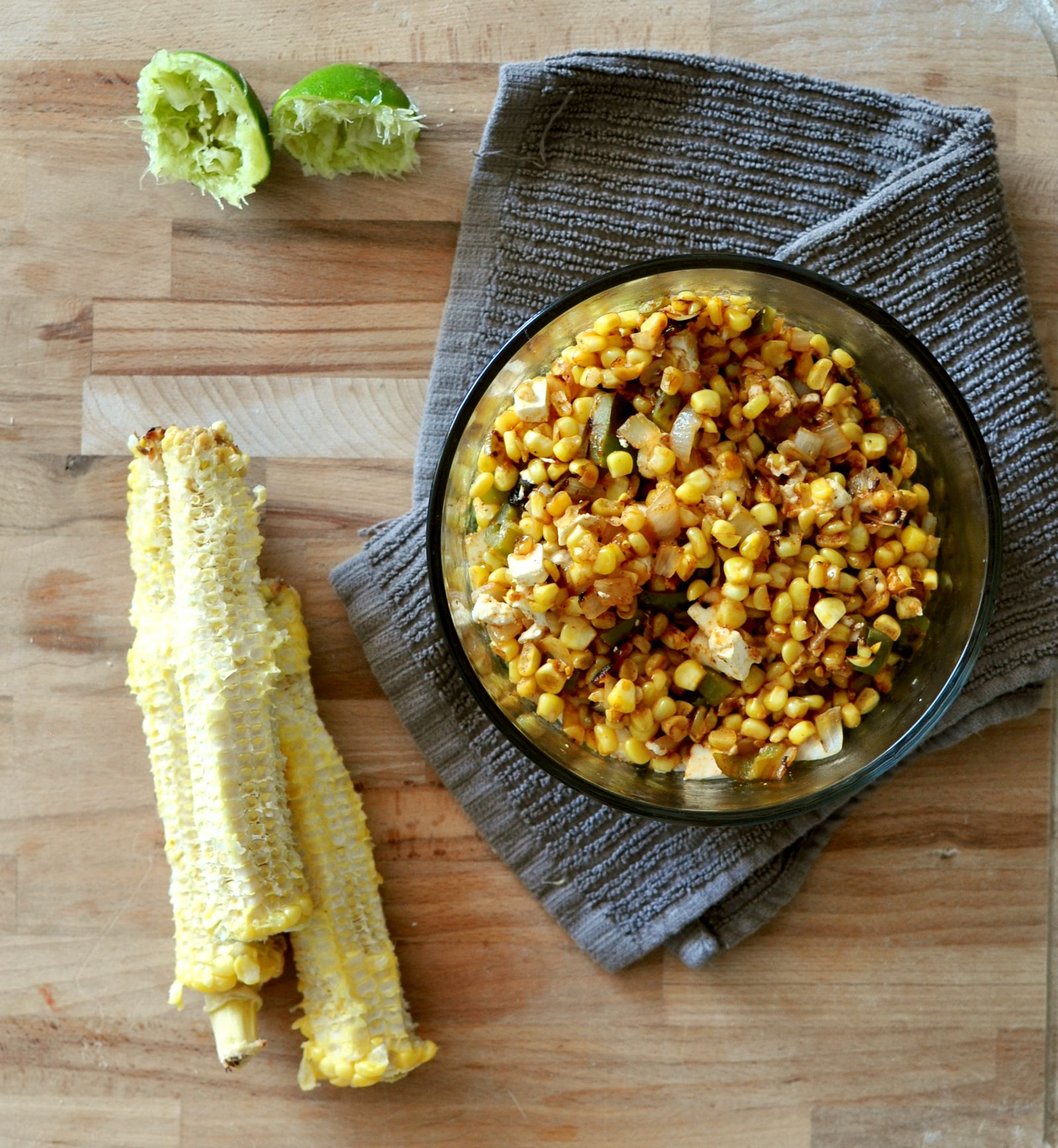 charred corn and pepper tacos