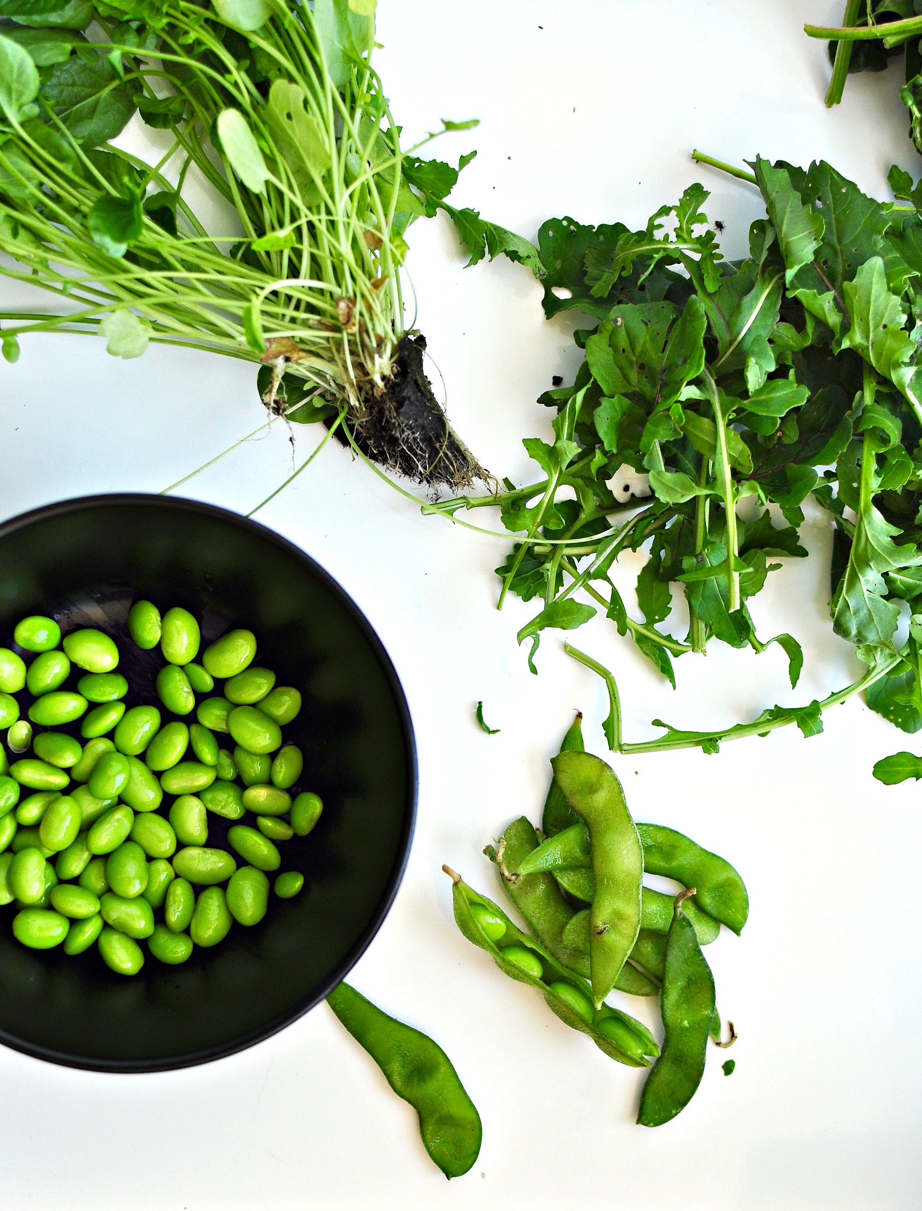 greens and edamame