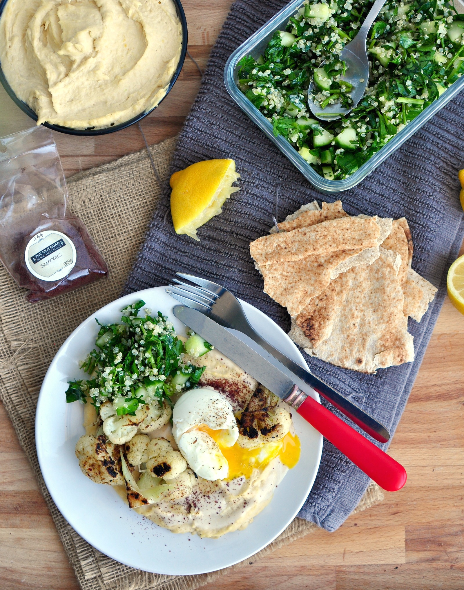 hummus, tahini and egg