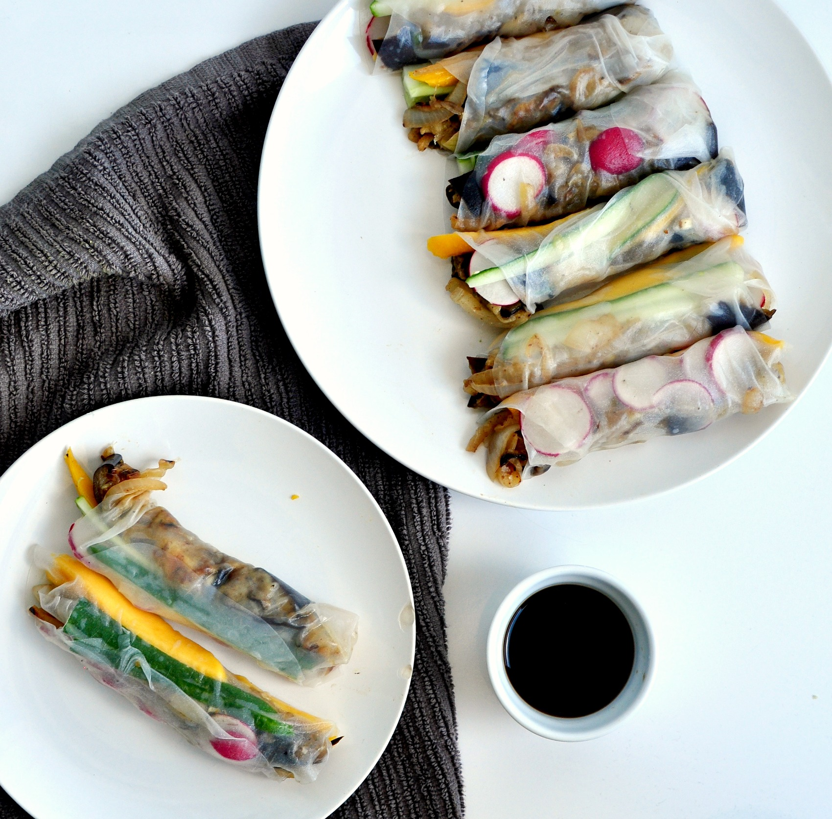 eggplant and mango salad rolls