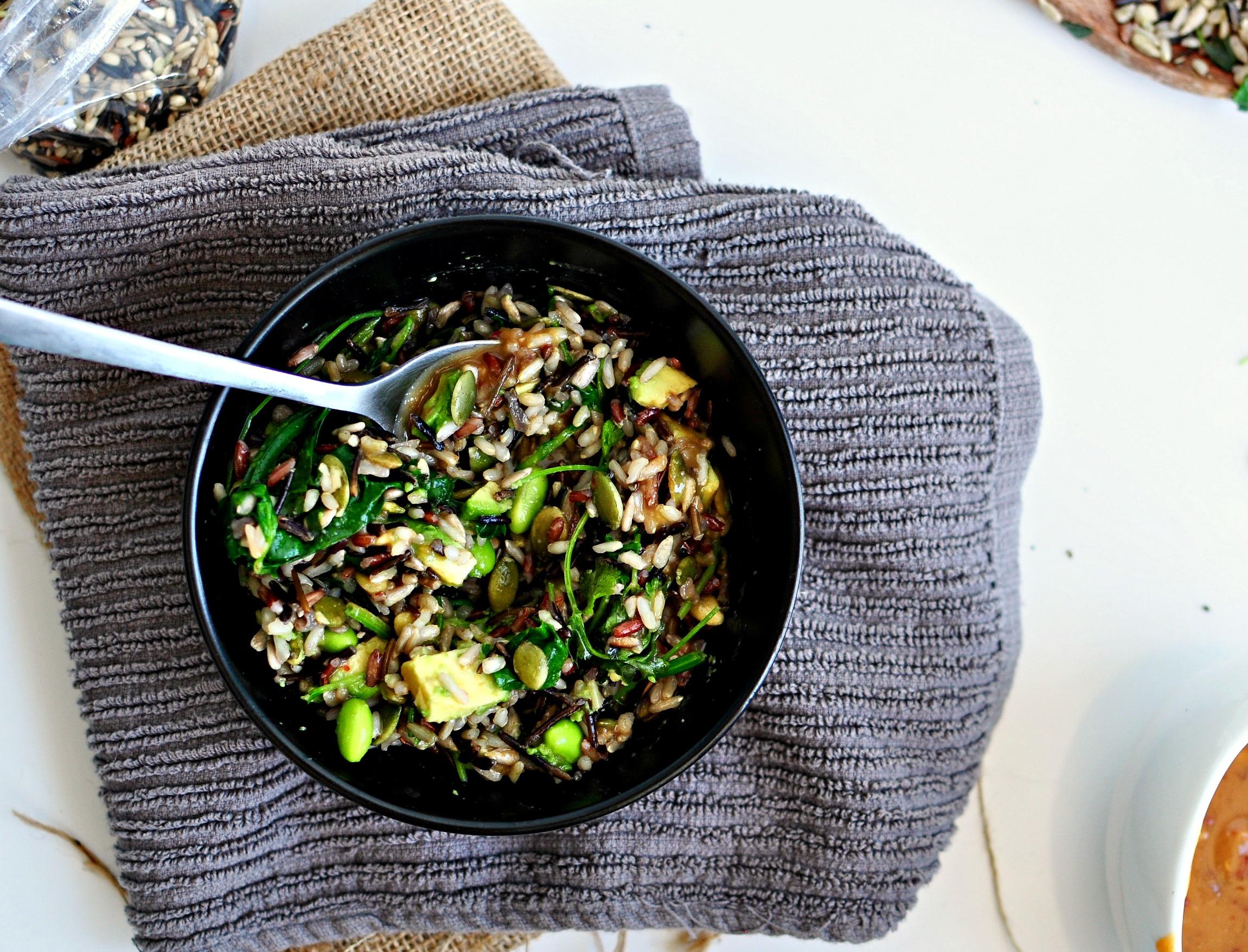 miso maple wild rice bowl