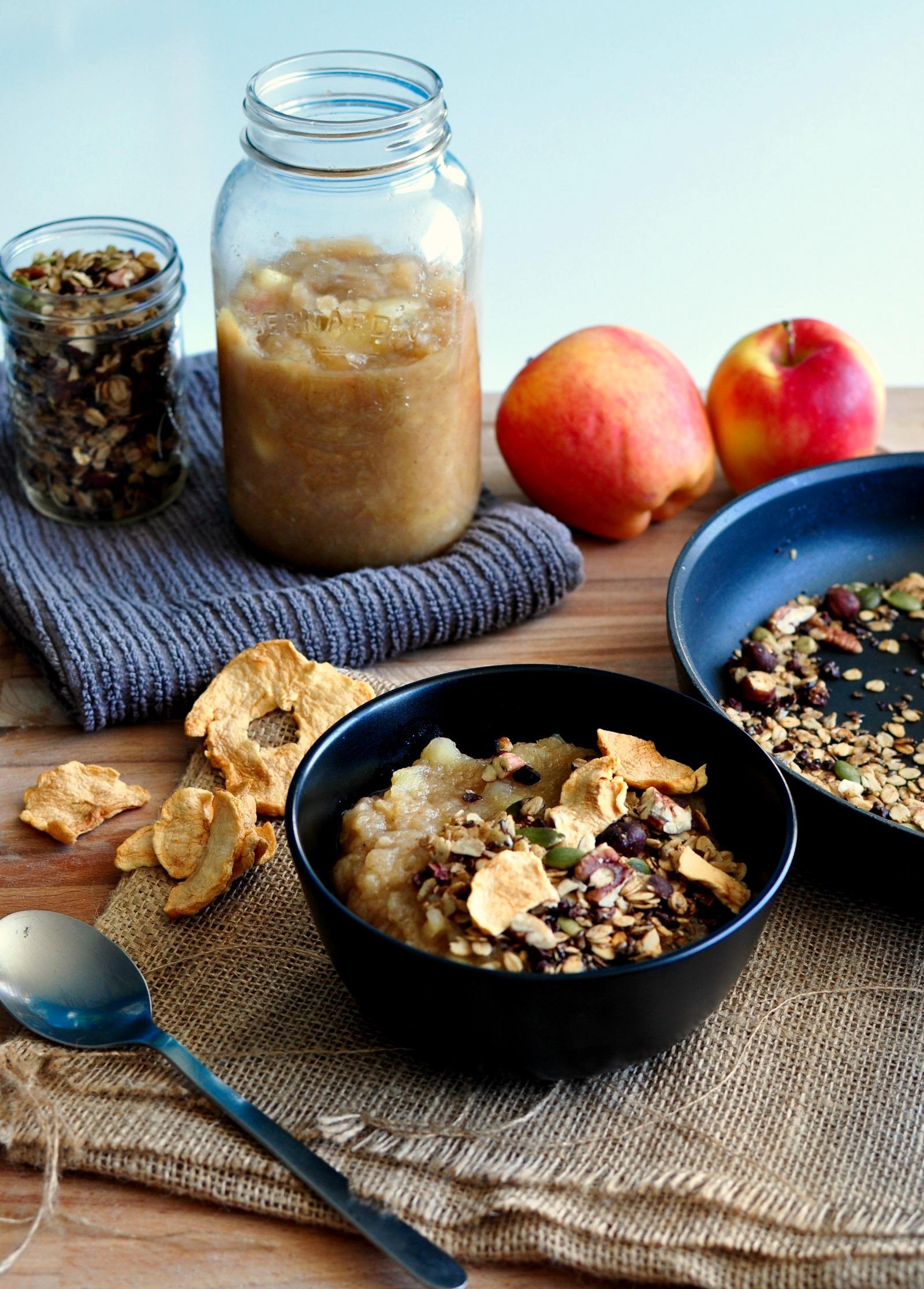 warm applesauce breakfast bowl