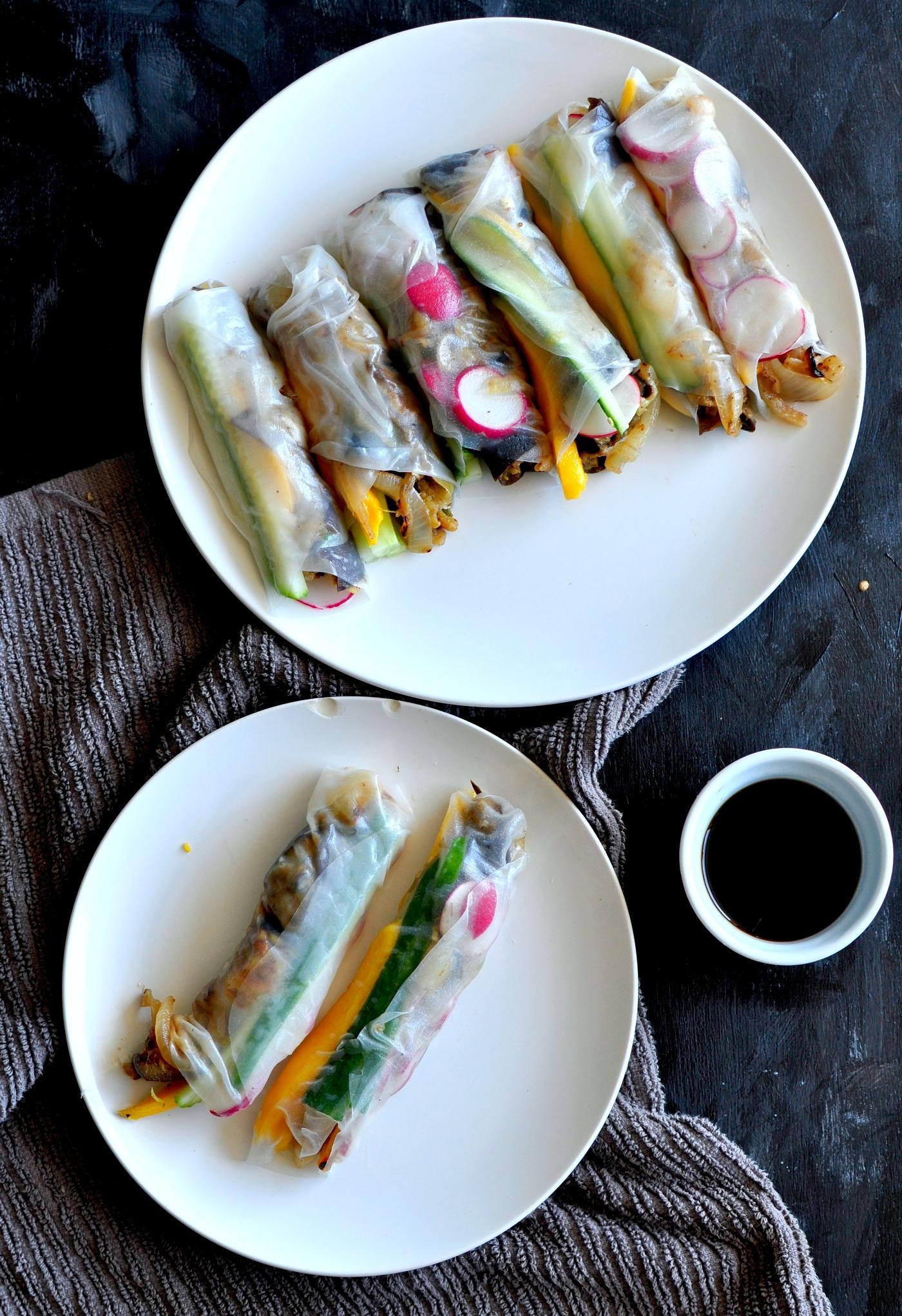 eggplant and mango salad rolls